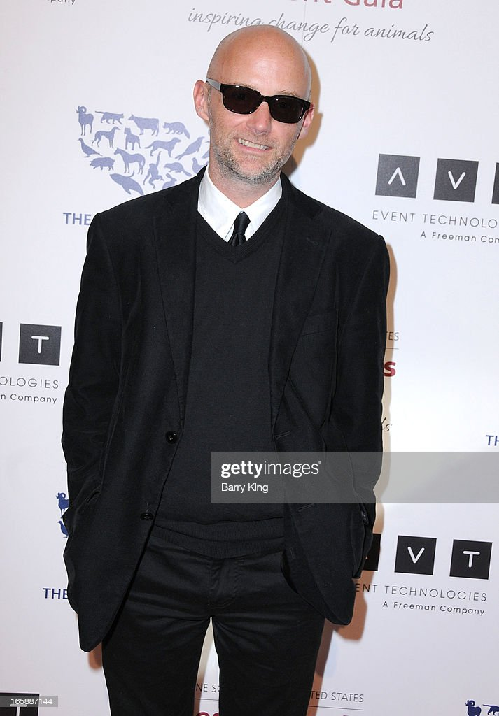 Singer <a gi-track='captionPersonalityLinkClicked' href=/galleries/search?phrase=Moby&family=editorial&specificpeople=203129 ng-click='$event.stopPropagation()'>Moby</a> attends The Humane Society's 2013 Genesis Awards benefit gala at the Beverly Hilton Hotel on March 23, 2013 in Beverly Hills, California.