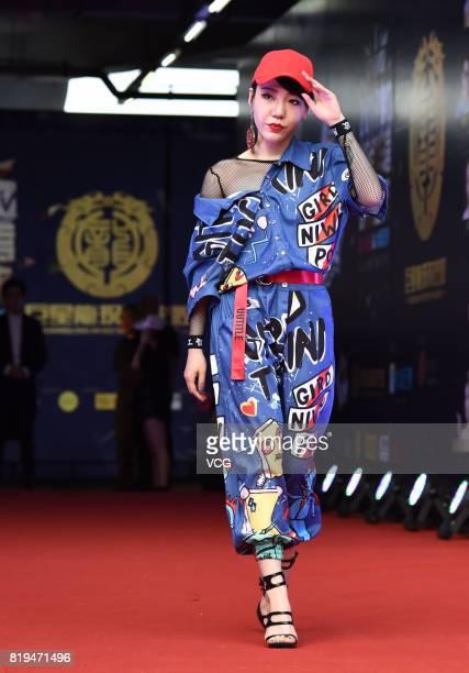Singer Momo Wu Mochou arrives at the red carpet of 2017 MTV Global Mandarin Music Awards on July 20 2017 in Shenzhen Guangdong Province of China