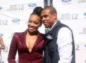 Singer Monica and Basketball player Shannon Brown arrive at the 2012 BET Awards at The Shrine Auditorium on July 1 2012 in Los Angeles California
