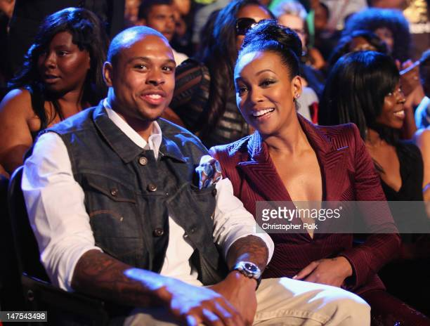 Singer Monica and NBA player Shannon Brown attend the 2012 BET Awards at The Shrine Auditorium on July 1 2012 in Los Angeles California