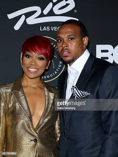 Singer Monica and NBA player Shannon Brown attend The Players' Awards presented by BET at the Rio Hotel Casino on July 19 2015 in Las Vegas Nevada