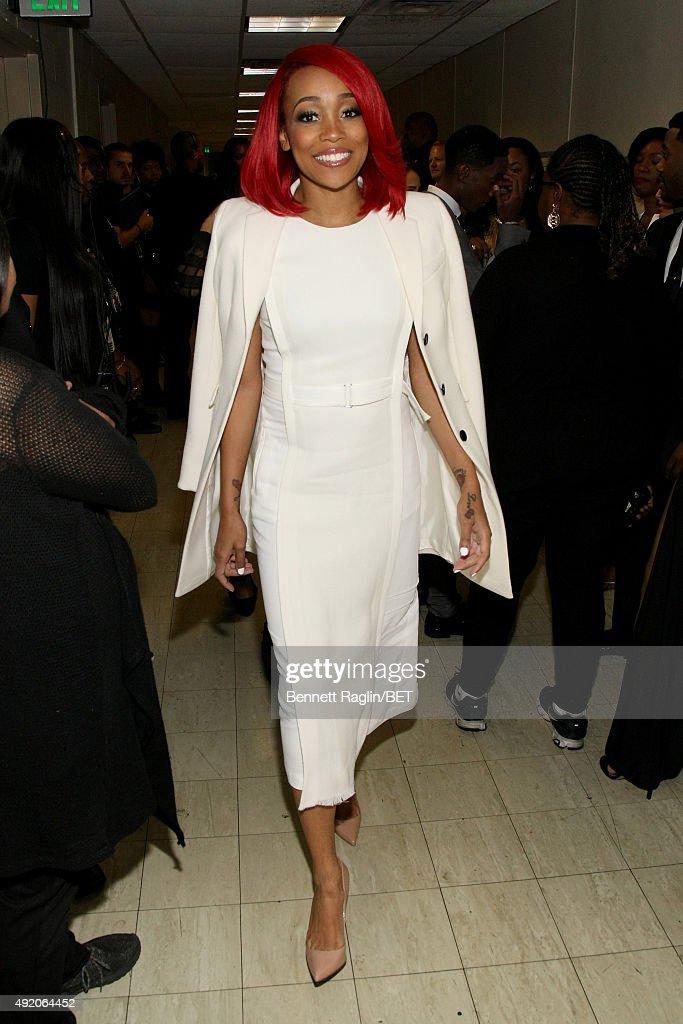 Singer Monica attends the BET Hip Hop Awards Show 2015 at the Atlanta Civic Center on October 9 2015 in Atlanta Georgia