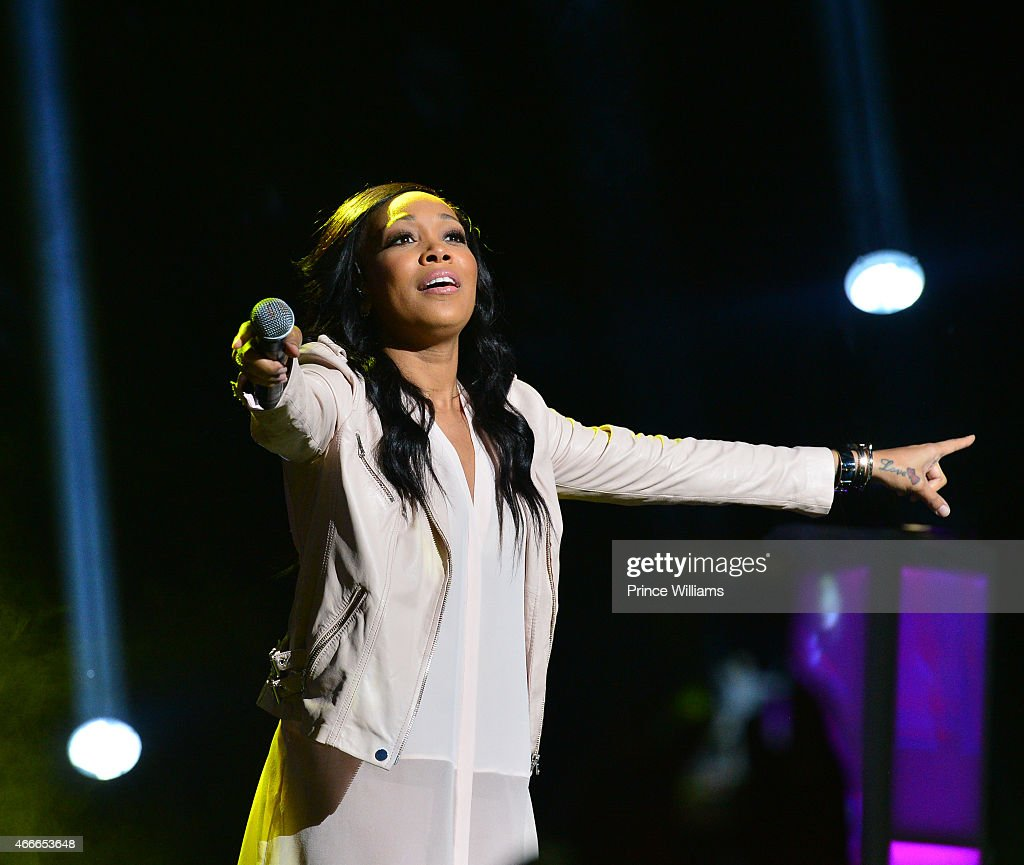 Singer Monica Brown performs at the K Michelle concert at Fox Theater on March 12 2015 in Atlanta Georgia