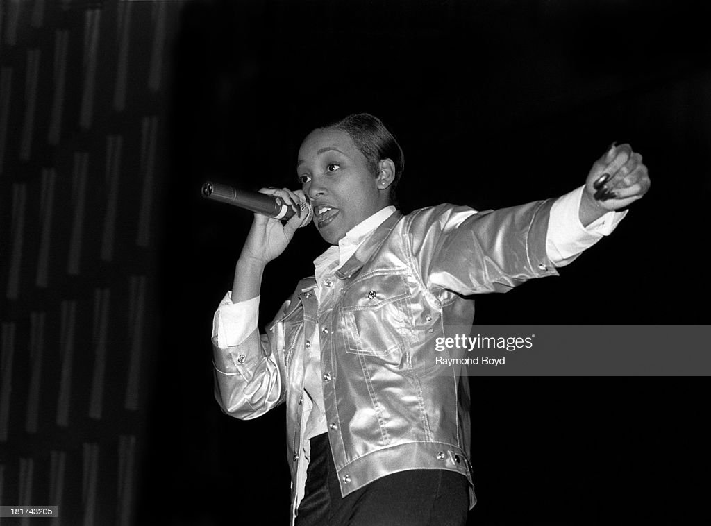 Singer Monica performs at Thornridge High School in Chicago Illinois in JANUARY 1995