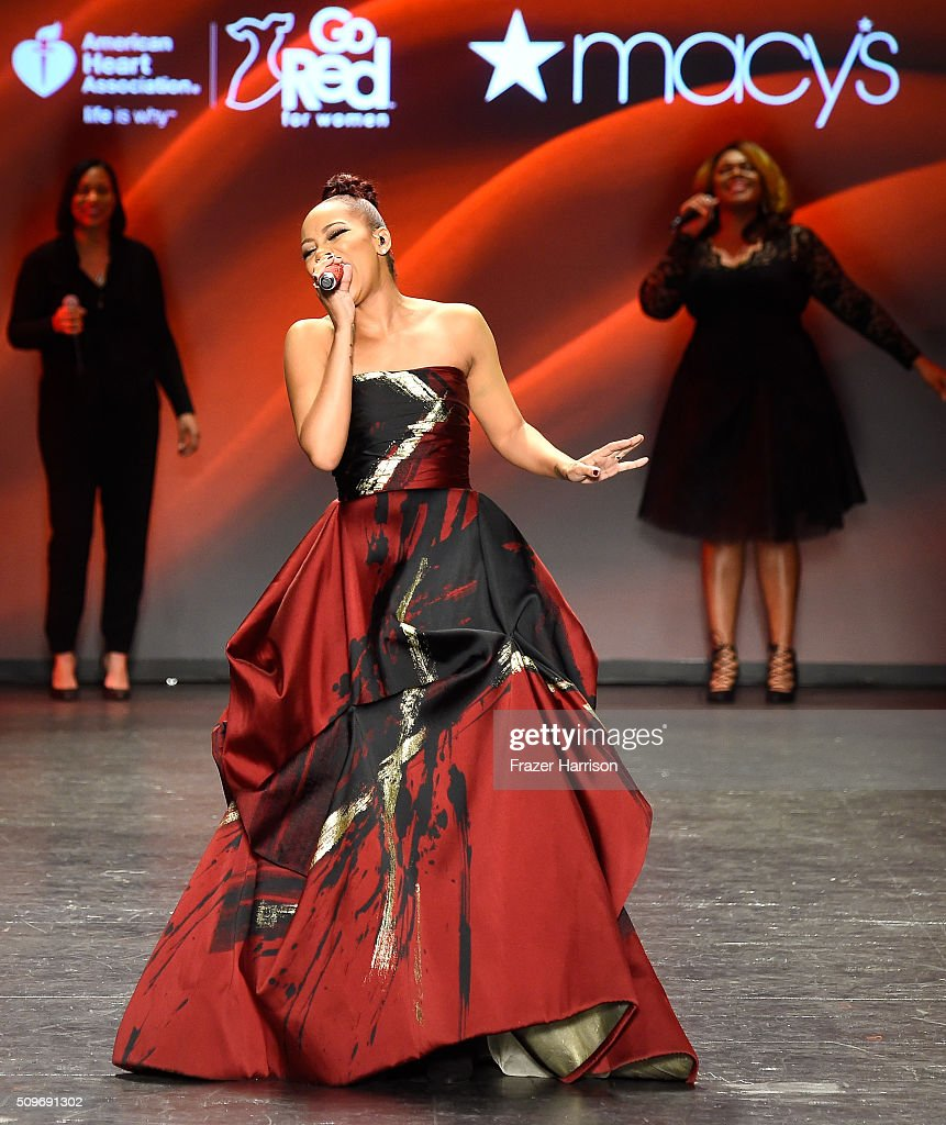 Singer Monica performs onstage at The American Heart Association's Go Red For Women Red Dress Collection 2016 Presented By Macy's at The Arc, Skylight at Moynihan Station on February 11, 2016 in New York City.