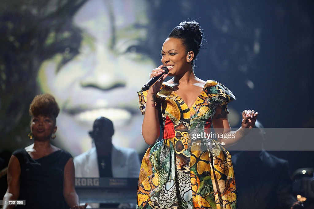 Singer Monica performs onstage during the 2012 BET Awards at The Shrine Auditorium on July 1, 2012 in Los Angeles, California.