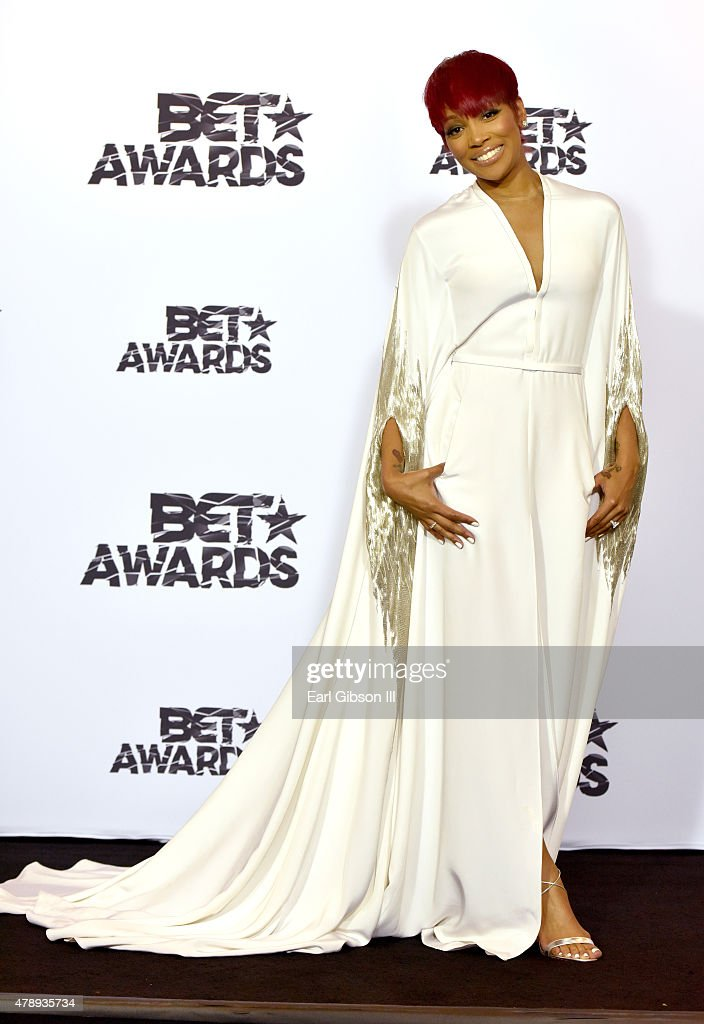Singer Monica poses in the press room during the 2015 BET Awards at the Microsoft Theater on June 28, 2015 in Los Angeles, California.