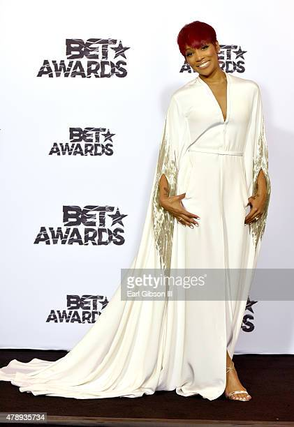 Singer Monica poses in the press room during the 2015 BET Awards at the Microsoft Theater on June 28 2015 in Los Angeles California