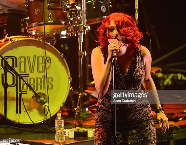 Singer Monique Powell of the band Save Ferris performs onstage during the final show at Irvine Meadows Amphitheatre on October 30 2016 in Irvine...