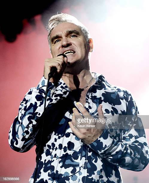 Singer Morrissey performs at Hollywood High School on March 2 2013 in Los Angeles California