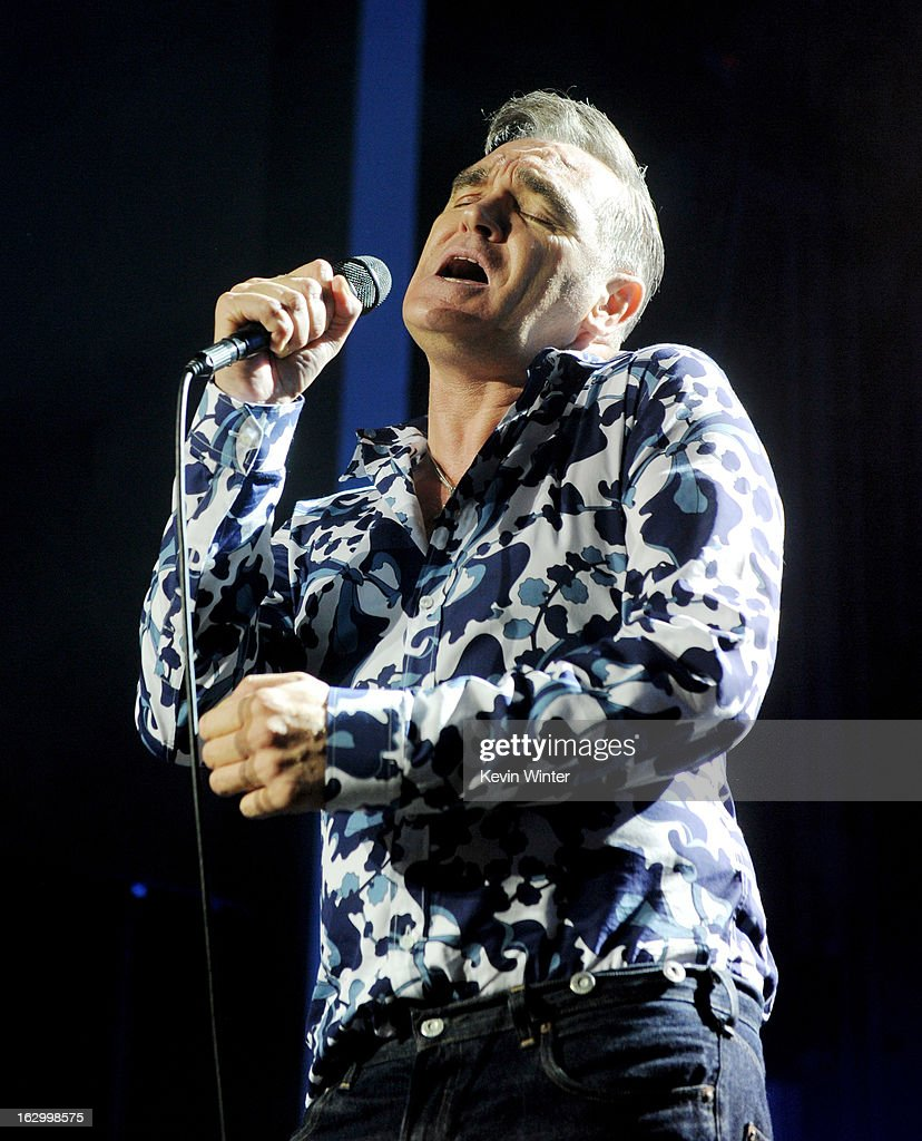 Singer <a gi-track='captionPersonalityLinkClicked' href=/galleries/search?phrase=Morrissey+-+Singer&family=editorial&specificpeople=11521934 ng-click='$event.stopPropagation()'>Morrissey</a> performs at Hollywood High School on March 2, 2013 in Los Angeles, California.