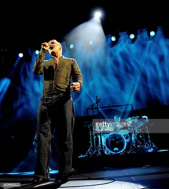 Singer Morrissey performs at The Staples Center on March 1 2013 in Los Angeles California