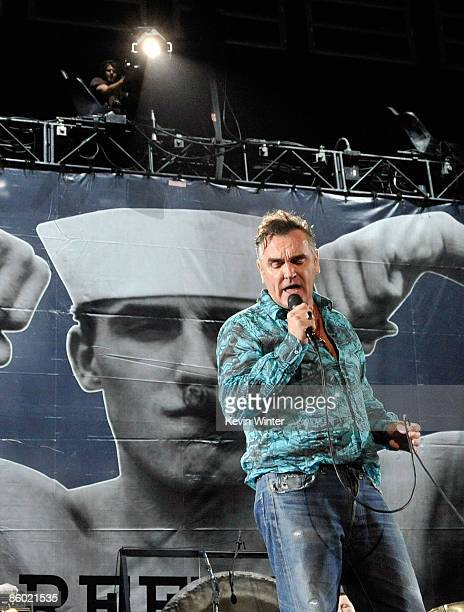 Singer Morrissey performs during day one of the Coachella Valley Music Arts Festival 2009 held at the Empire Polo Club on April 17 2009 in Indio...