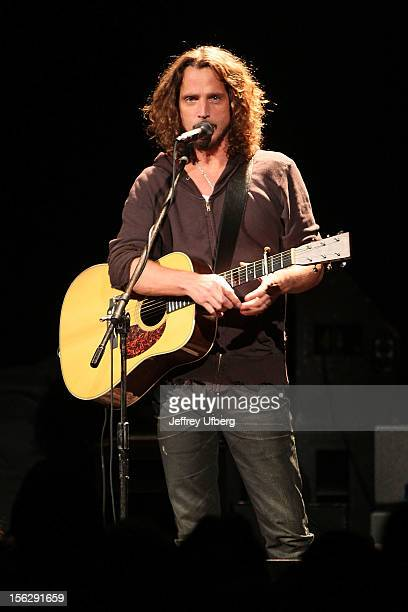 Singer / Musician Chris Cornell performs during a Hurricane Sandy benefit concert at the Bowery Ballroom on November 12 2012 in New York City
