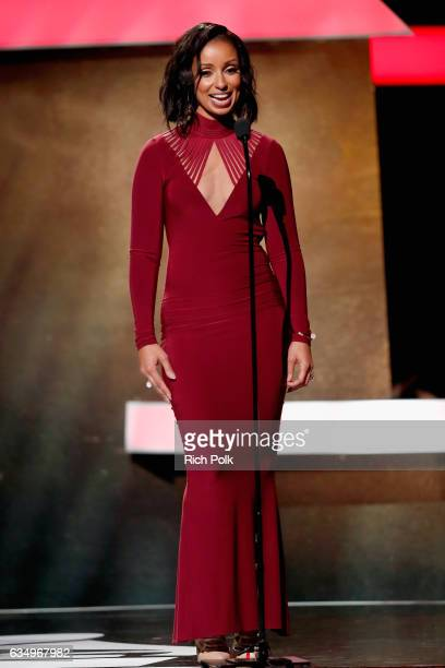 Singer Mya speaks onstage at the Premiere Ceremony during the 59th GRAMMY Awards at Microsoft Theater on February 12 2017 in Los Angeles California