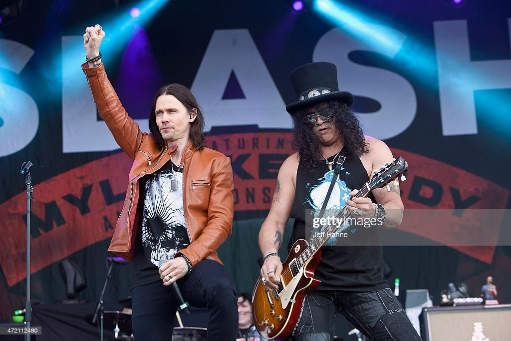 Singer Myles Kennedy and guitarist Slash of Slash featuring Myles Kennedy and the Conspirators performs during day 2 of the Carolina Rebellion at...