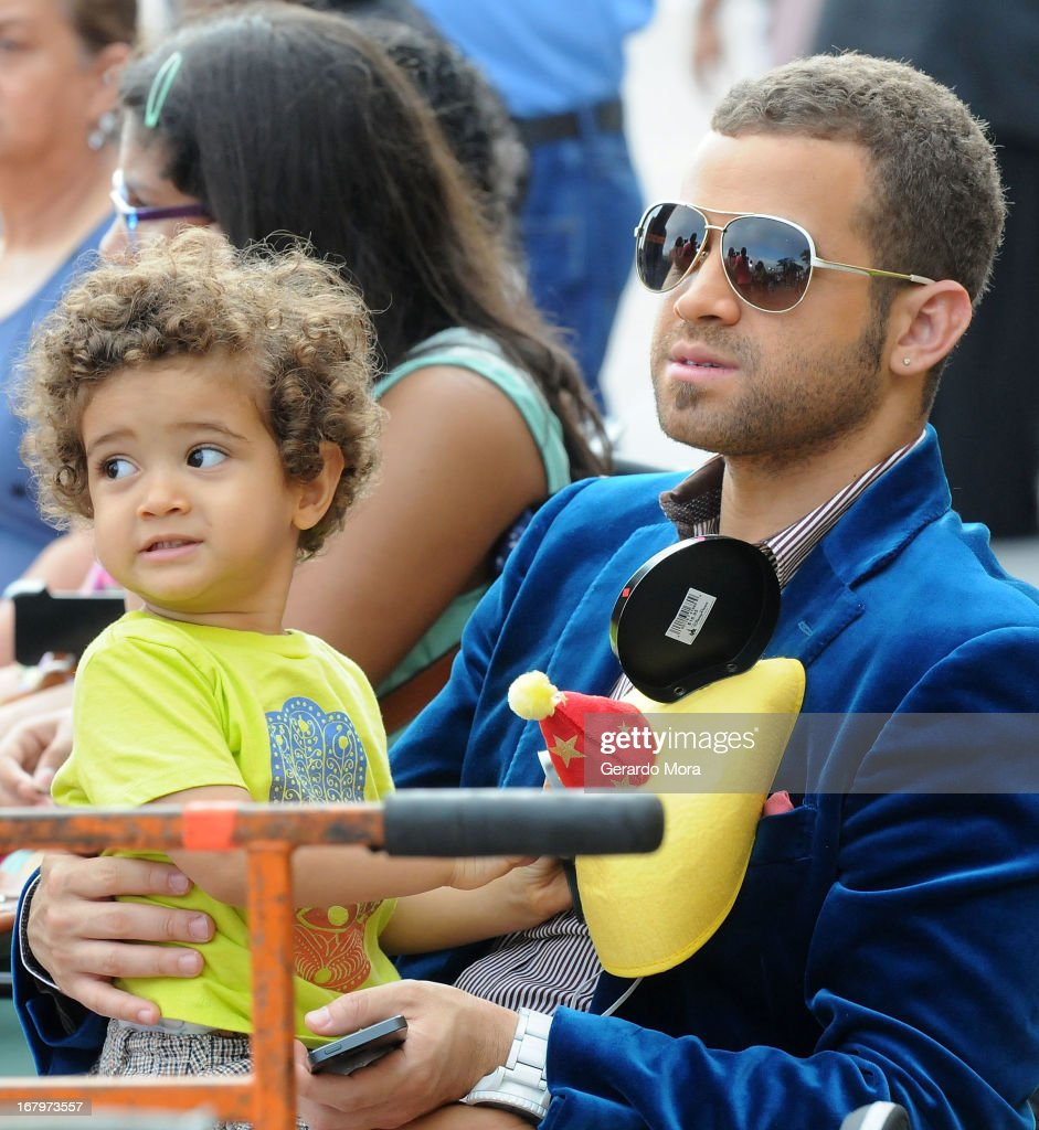 Singer Nacho and his son Miguel Alejandro during Univision's morning show Despierta America 16th anniversary at Epcot Center Walt Disney World on May 3, 2013 in Orlando, Florida.