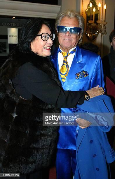 Singer Nana Mouskouri and Michou during Celebrites Attend 'Sur La Route De Madison' in Paris at Theatre Marigny in Paris France