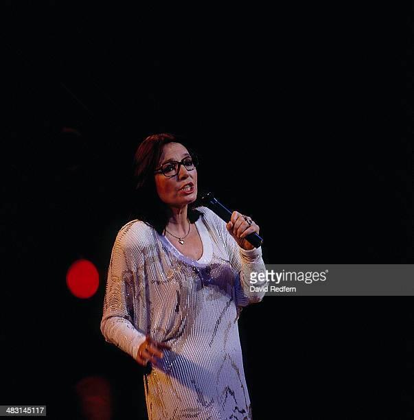 Singer Nana Mouskouri on stage circa 1980