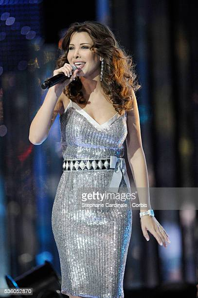 Singer Nancy Ajram performs during the ceremony of the 2008 World Music Awards in Monte Carlo