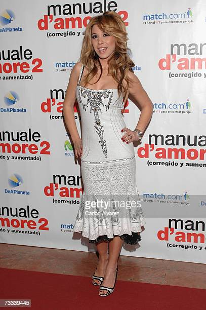 Singer Natalia attends the premiere for ''Manuale D'Amore 2'' on February 15 2007 at Palacio de la Musica Cinema in Madrid Spain