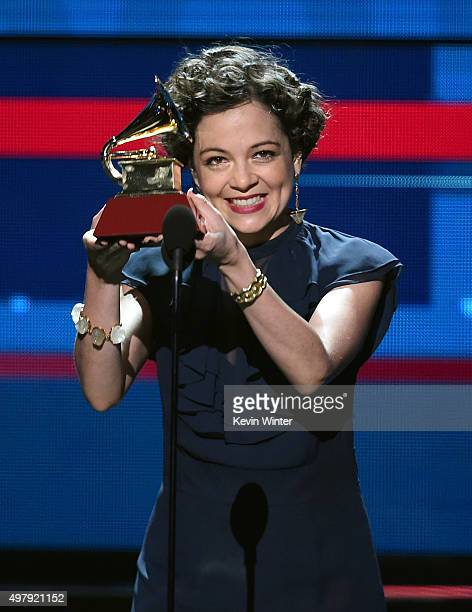 Singer Natalia Lafourcade accepts the Record of the Year Award for Hasta La Raiz onstage during the 16th Latin GRAMMY Awards at the MGM Grand Garden...