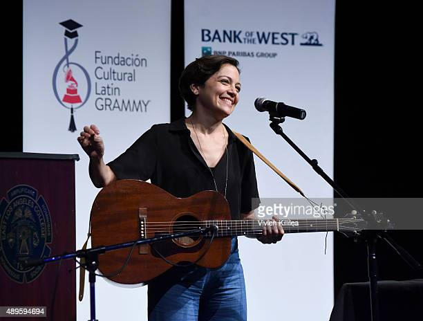 Singer Natalia Lafourcade performs at Latin GRAMMYS in the Schools with Natalia Lafourcade on September 22 2015 in Monterey Park California