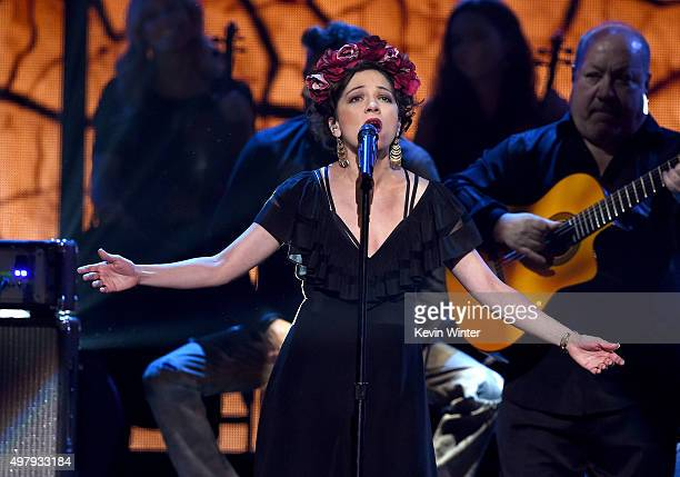 Singer Natalia Lafourcade performs onstage during the 16th Latin GRAMMY Awards at the MGM Grand Garden Arena on November 19 2015 in Las Vegas Nevada