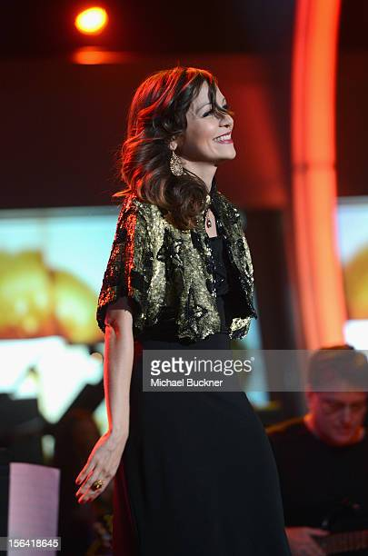 Singer Natalia Lafourcade performs onstage during the 2012 Person of the Year honoring Caetano Veloso at the MGM Grand Garden Arena on November 14...
