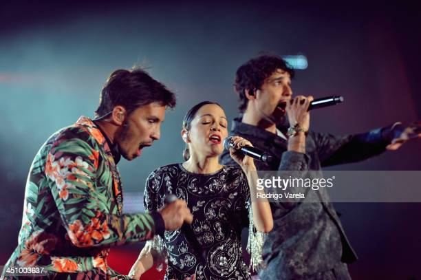 Singer Natalia Lafourcade performs with Emmanuel Horvilleur and Dante Spinetta of Illya Kuryaki and the Valderramas onstage during the 2013 Person of...