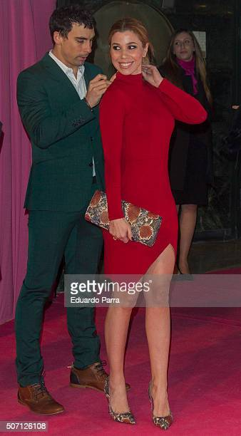 Singer Natalia Rodriguez and christian Sanchez attend 'Embarazados' premiere at Capitol cinema on January 27 2016 in Madrid Spain