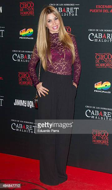 Singer Natalia Rodriguez attends 'Cabaret maldito circo de los horrores' premiere at Carpa Puerta del Angel on October 29 2015 in Madrid Spain