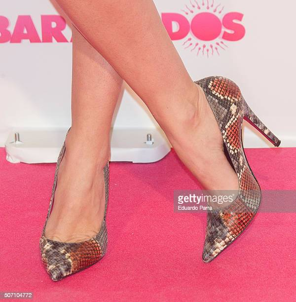 Singer Natalia Rodriguez shoes detail attends 'Embarazados' premiere at Capitol cinema on January 27 2016 in Madrid Spain