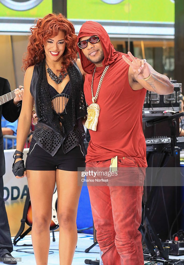 Singer Natalie La Rose (L) and Flo Rida perform on NBC's 'Today' at Rockefeller Plaza on August 9, 2013 in New York, New York.