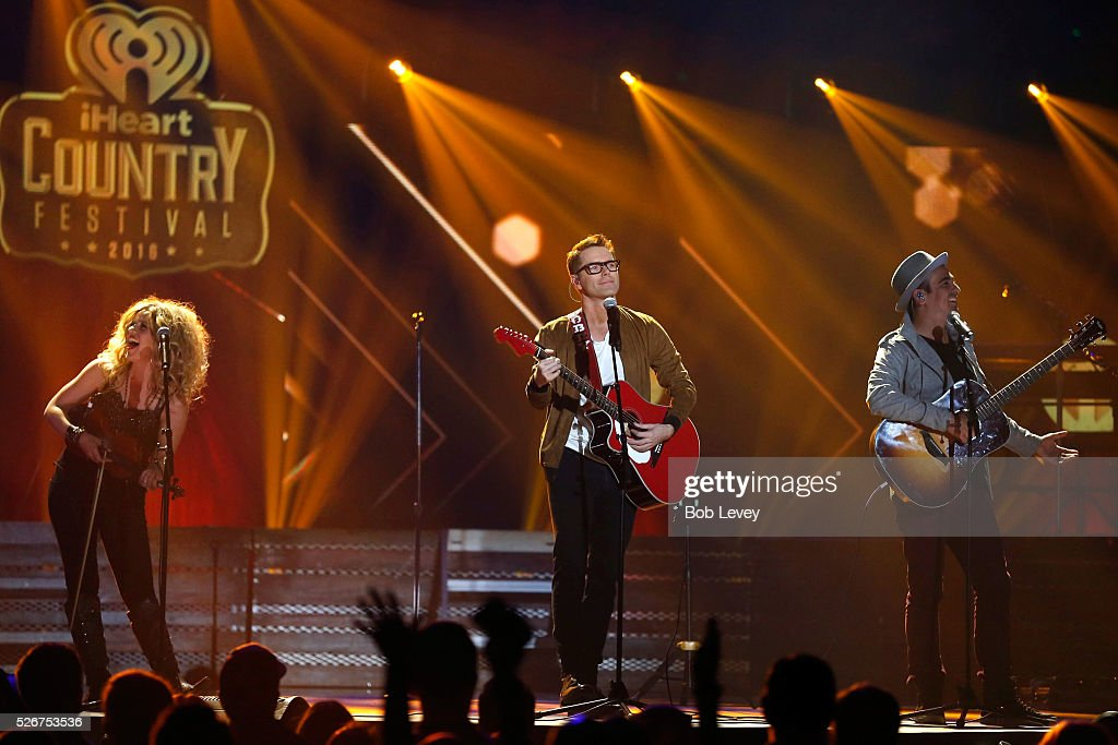 Singer Natalie Stovall, radio personality Bobby Bones and producer Eddie Garcia of Bobby Bones and the Raging Idiots perform onstage during the 2016 iHeartCountry Festival at The Frank Erwin Center on April 30, 2016 in Austin, Texas.