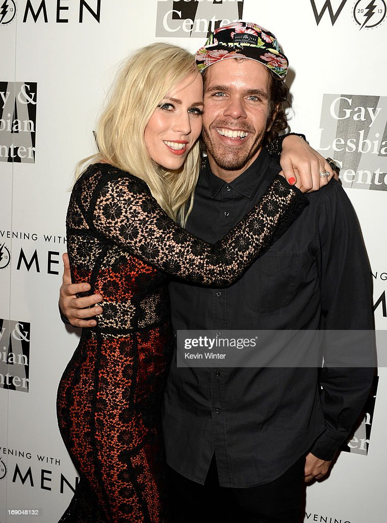Singer Natasha Bedingfield (L) and blogger Perez Hilton arrive at An Evening With Women benefiting The L.A. Gay & Lesbian Center at the Beverly Hilton Hotel on May 18, 2013 in Beverly Hills, California.