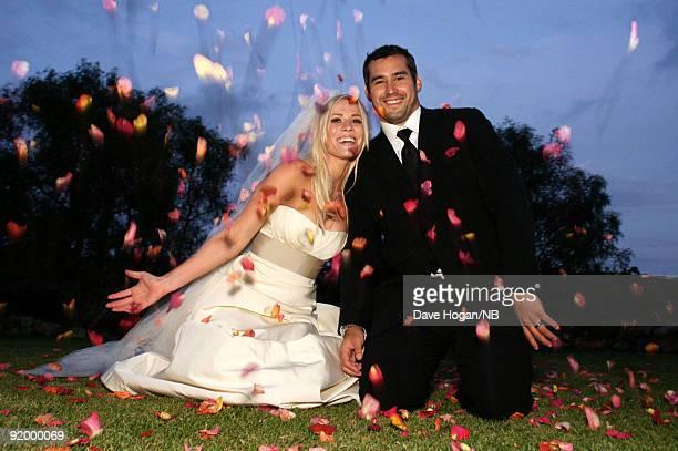 Singer Natasha Bedingfield and Matt Robinson pose during their wedding ceremony held at Church Estate Vinyards on March 21 2009 in Malibu California