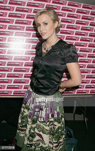 Singer Natasha Bedingfield poses in the Awards Room at the Smash Hits T4 Poll Winners Party 2004 at Wembley Arena on November 21 2004 in London...