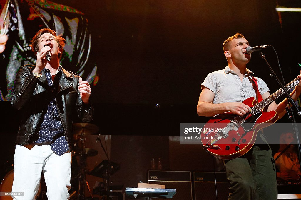 Singer Nate Ruess (L) and guitarist Jack Antonoff of Fun. perform onstage at the 23rd Annual KROQ Almost Acoustic Christmas at Gibson Amphitheatre on December 9, 2012 in Universal City, California.