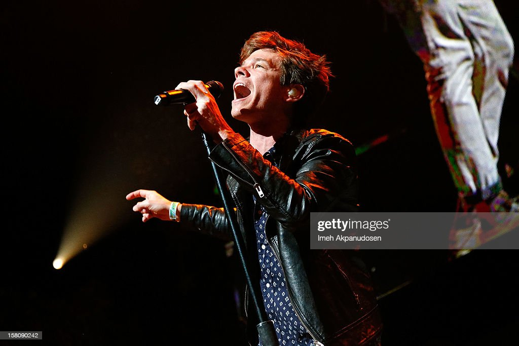 Singer <a gi-track='captionPersonalityLinkClicked' href=/galleries/search?phrase=Nate+Ruess&family=editorial&specificpeople=6897270 ng-click='$event.stopPropagation()'>Nate Ruess</a> of Fun. performs onstage at the 23rd Annual KROQ Almost Acoustic Christmas at Gibson Amphitheatre on December 9, 2012 in Universal City, California.