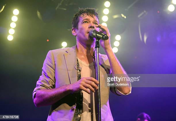 Singer Nate Ruess performs onstage during his record release party at Teragram Ballroom on June 24 2015 in Los Angeles California