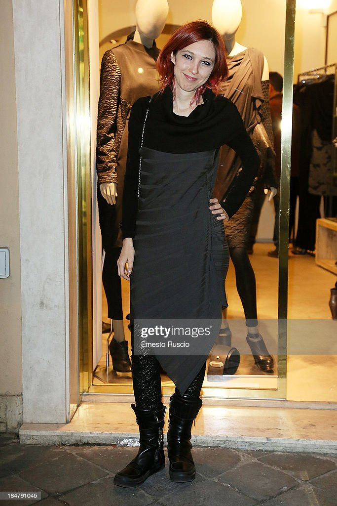 Singer Nathalie attends the Malloni Boutique opening at Via Della Croce on October 16, 2013 in Rome, Italy.