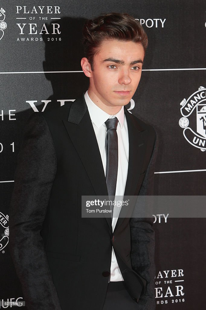 Singer Nathan Sykes from The Wanted arrives at the club's annual Player of the Year awards at Old Trafford on May 2, 2016 in Manchester, England.