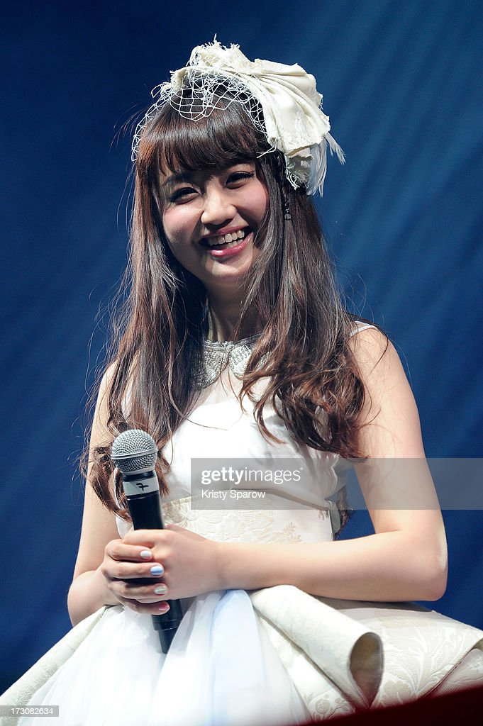 Singer Natsuko Aso performs during the JE live house 'TOYOTA x STUDIO4ÁC meets ANA PES' concert during the Japan Expo at Paris-nord Villepinte Exhibition Center on July 6, 2013 in Paris, France.