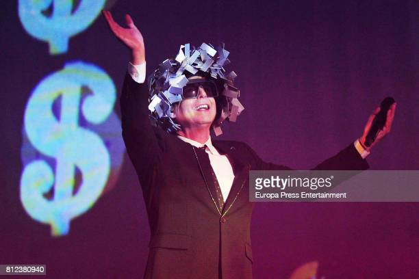 Singer Neil Tennant of the British Pop band 'Pet Shop Boys' perform on stage during a concert at The Royal Theatre on July 10 2017 in Madrid Spain
