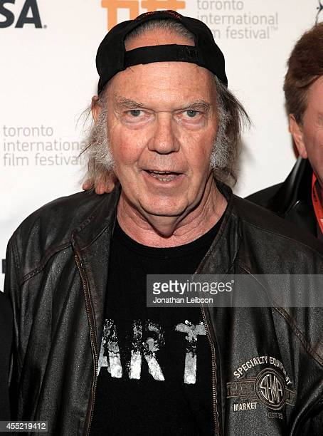 Singer Neil Young attends the 'Human Highway' premiere during the 2014 Toronto International Film Festival at Isabel Bader Theatre on September 10...