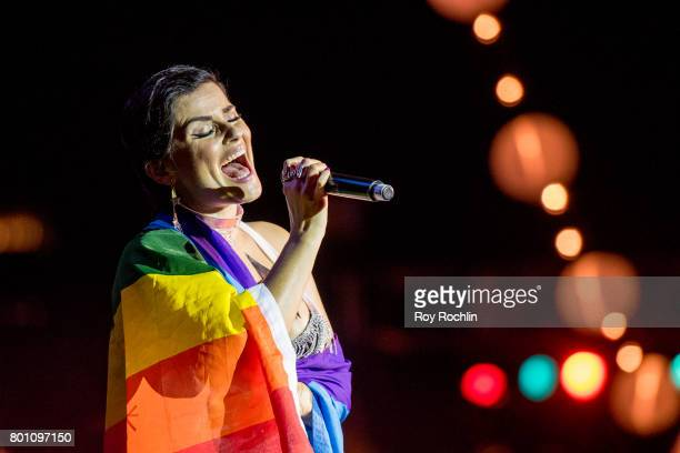 Singer Nelly Furtado perfoms on stage during New York City Pride 2017 Pride Island Sunday at Pier 26 on June 25 2017 in New York City