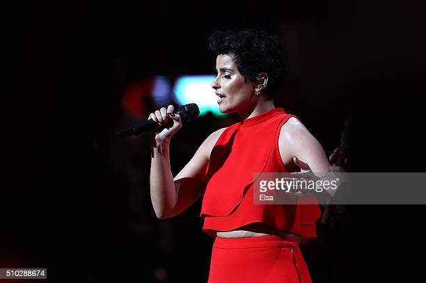 Singer Nelly Furtado performs the Canadian national anthem during the NBA AllStar Game 2016 at the Air Canada Centre on February 14 2016 in Toronto...