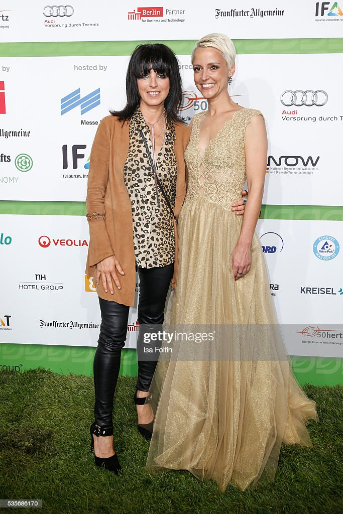 Singer <a gi-track='captionPersonalityLinkClicked' href=/galleries/search?phrase=Nena+-+Singer&family=editorial&specificpeople=14019354 ng-click='$event.stopPropagation()'>Nena</a> and Alexia Osswald attend the Green Tec Award at ICM Munich on May 29, 2016 in Munich, Germany.