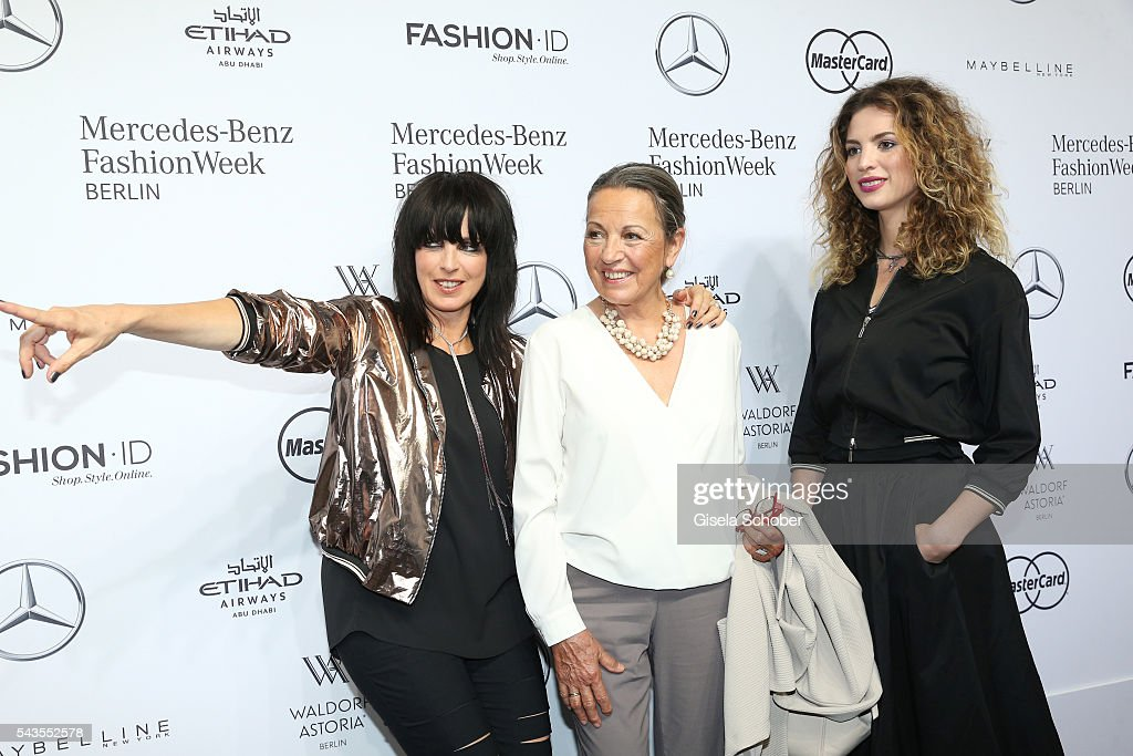 Singer Nena with her mother Ursula Griebner and her daughter Larissa Kerner at the Minx by Eva Lutz show during the Mercedes-Benz Fashion Week Berlin Spring/Summer 2017 at Erika Hess Eisstadion on June 29, 2016 in Berlin, Germany.